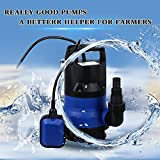 1/2 HP 2000GPH Energy Saving Clean Submersible Water Pump for Garden House Swimming Pool Pond Heavy Duty Water Transfer Small Powerful US Plug (blue)
