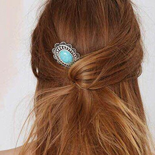 Tibet Jewelry Hairpin Turquoise Bead Stick Hair Clip