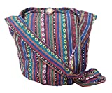 BTP! Thai Cotton Sling Bag Purse Crossbody Messenger Hippie Hobo Hand Woven Ikat (Multicolored A101)