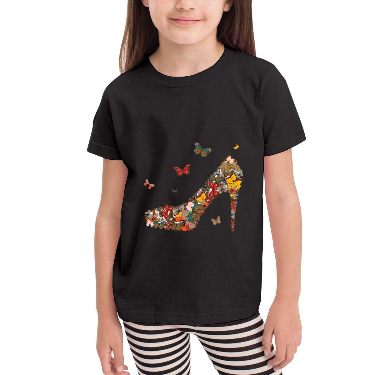 Butterfly High Heel 100/% Cotton Toddler Baby Boys Girls Kids Short Sleeve T Shirt Top Tee Clothes 2-6 T