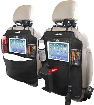 Car Seat Back Protectors,Storage Pockets Seat Back Protectors Kick Mats for Kids Toddlers PATIO PLUS Back seat Car Organizer Kick Mats Travel Accessories