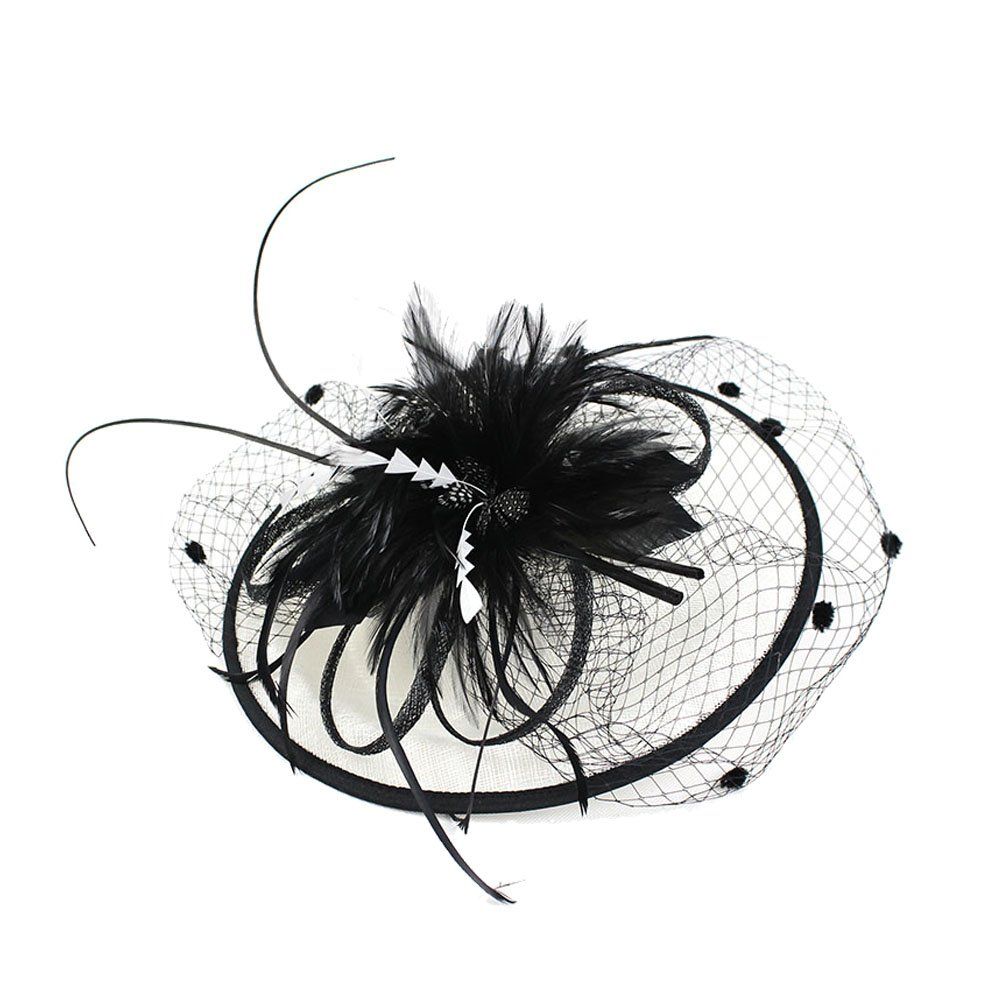 Decou Long Feather Veil Sinamay Fascinator Hat Black and White