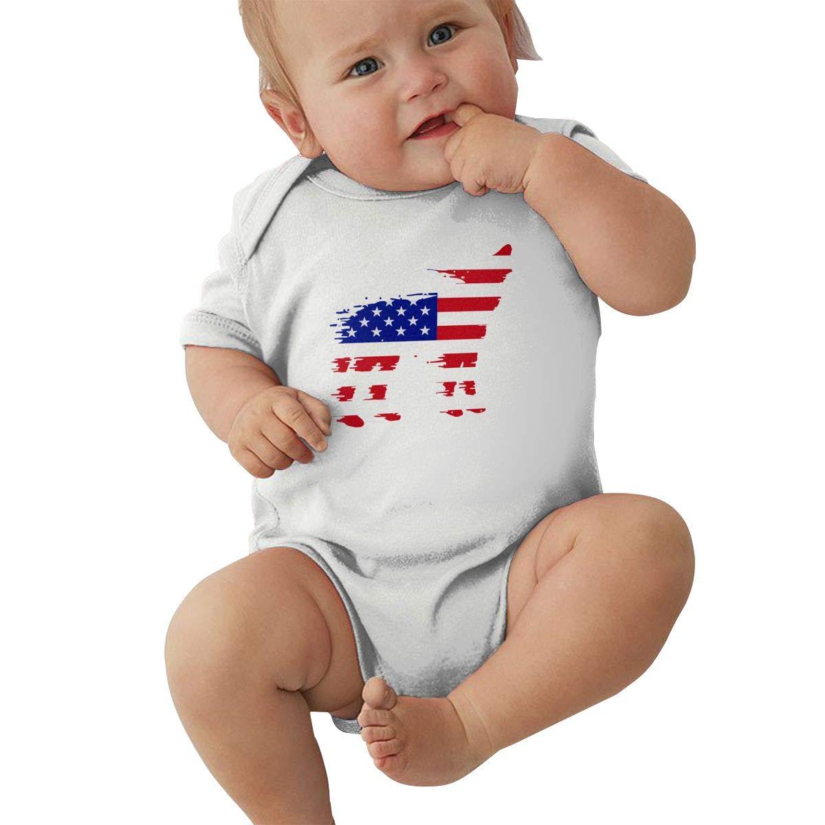 Baby Boy Girl Short Sleeve Bodysuit American Flag Wolf Kid Pajamas