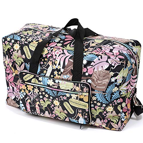 Women's Foldable Large Travel Duffle Bag, Lightweight Luggage Weekender Overnight Carry on Bag (Tropical rainforest)