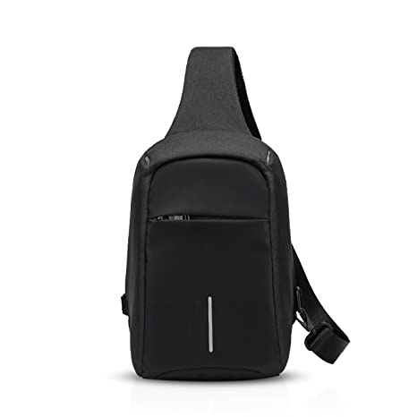 278fcf97fc43 FANDARE Sling Bag Anti-Theft Shoulder Backpack Crossbody Bag Single One  Strap Backpack Cycling Hiking Outdoor Travel Men/Women Reflective Stripe ...