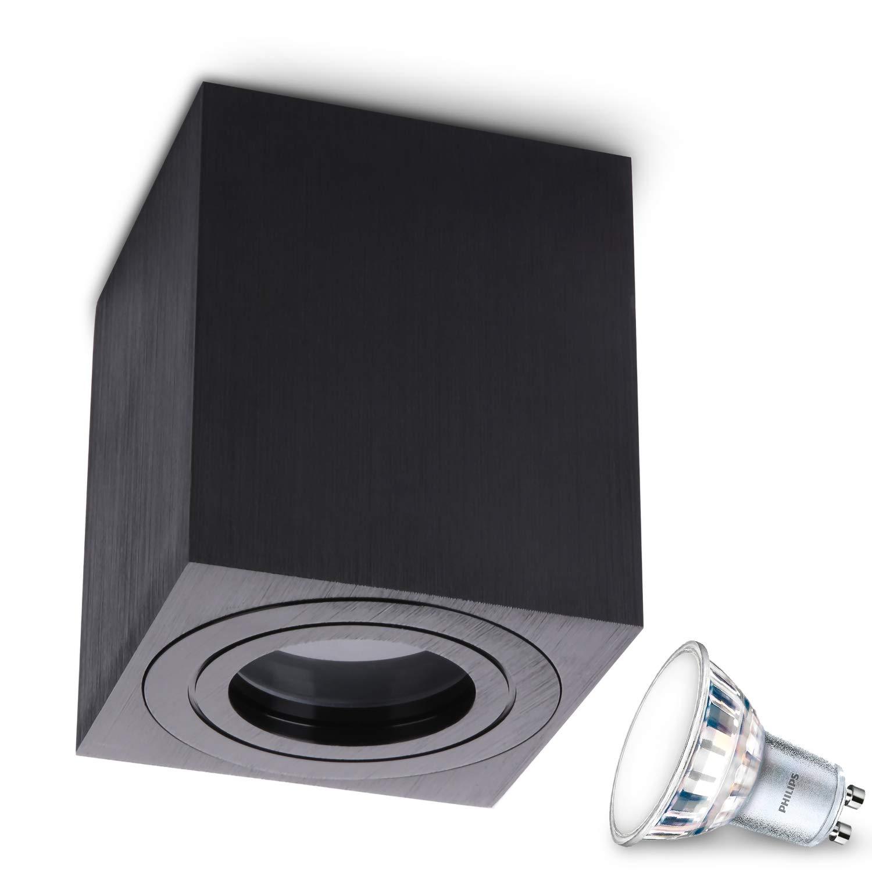 JVS Aufbauleuchte Aufbaustrahler Deckenleuchte Aufputz MILANO IP44 5W LED Neutralweiss GU10 Fassung 230V quadrat schwarz Strahler Deckenlampe Aufbau-lampe Downlight aus Aluminium