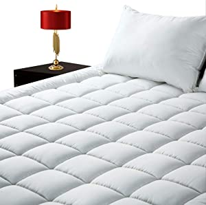 "GOPOONY Queen Size Mattress Pad Cover Cooling Quilted Mattress Padding Topper 400 TC Cotton Top Deep Pocket 8""-21"" Fitted Pillow Top Padding (White, Queen)"