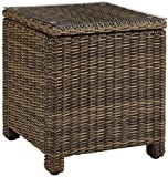 Cheap Crosley Furniture Bradenton Outdoor Wicker Rectangular Side Table with Glass Top – Weathered Brown