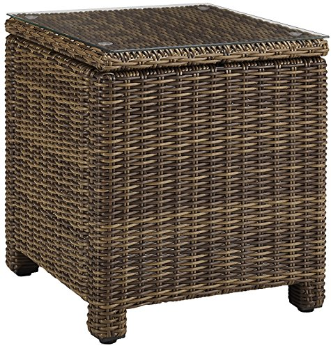 Crosley Furniture Bradenton Outdoor Wicker Rectangular Side Table with Glass Top - Weathered Brown (Table Rectangular Side Glass)
