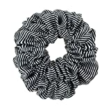 Great Quality Regular Soft Satin Hairband / Hair Scrunchy / Ponytail Holder / Elastic Band With Stripes Pattern In Black And White Colours By VAGA