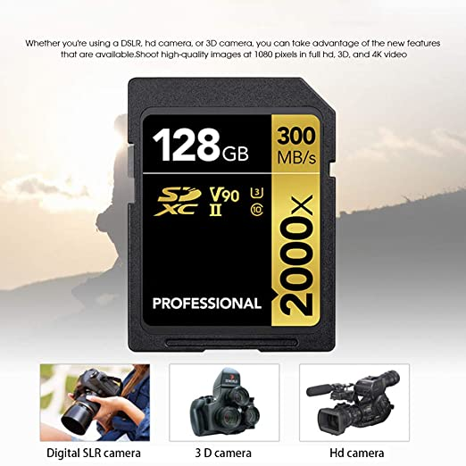 Tarjeta SD De 128 GB, Tarjeta SD Profesional 2000X 300 MB/S ...