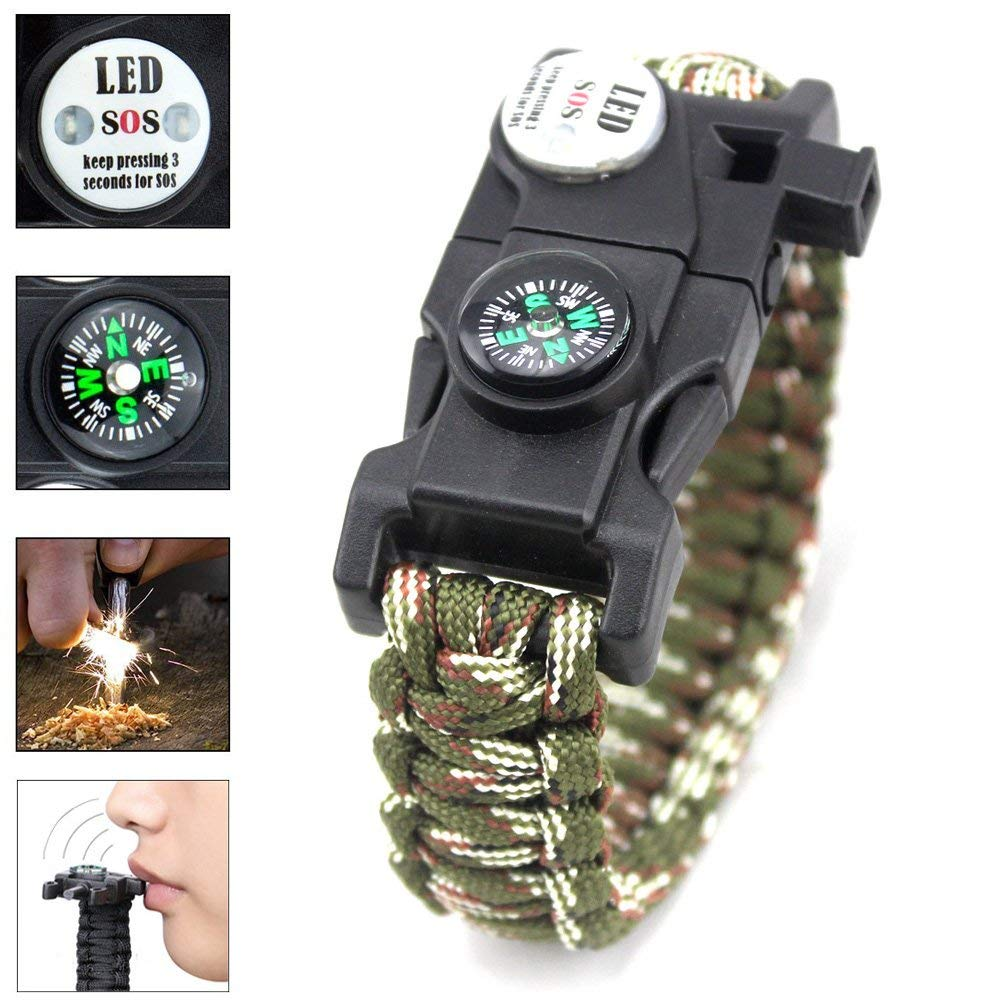 20 in 1 Paracord Bracelet Survival Gear Kit with SOS LED Light, Compass, Fire Starter, Emergency Whistle & Knife, Multi Tool for Hiking, Camping and Climbing - Camo Green