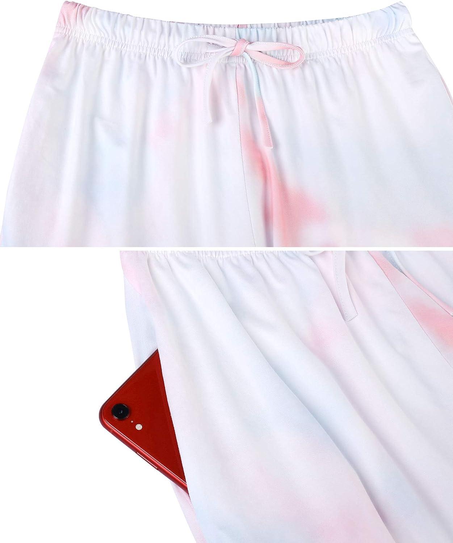 Doaraha Pigiama Donna Cotone Lungo Tie Dye 2 Pezzi Camicie da Notte Collo Girocollo Manica Lunga Raffinato Comfort e Comodo S-XXL
