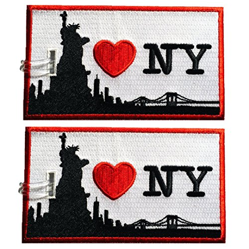 Luggage Tags, I Love New-York, Embroidered, 2 pack, 15 COLORS, NEVER BREAK!