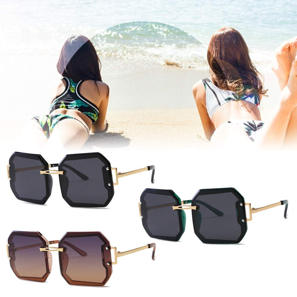Simdoc Fashion Women Sun Glasses Vintage Square Sunglasses Frameless Trimming Sunglasses Eyeglasses Eyewear