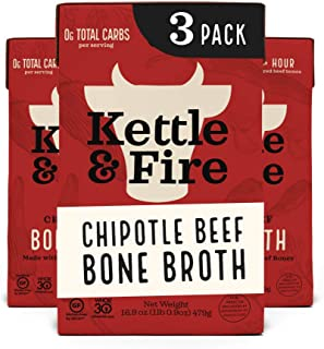 product image for Whole 30 Approved Chipotle Beef Bone Broth by Kettle and Fire, Pack of 3, Keto Diet, Paleo Friendly, Snack Foods, Gluten Free, with Collagen, 10g of protein, 16.9 fl oz