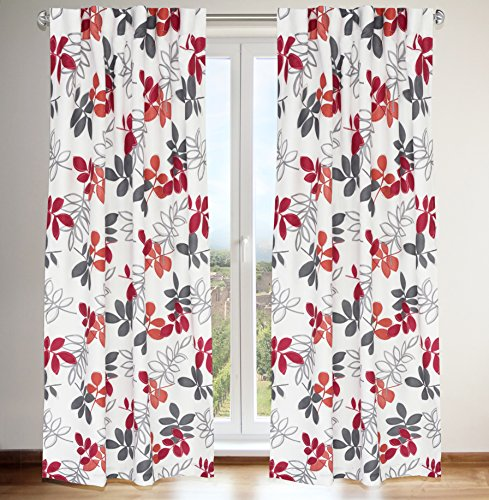 LJ Home Fashions 436 Petal Leaf Botanical Print Hidden Tab Top Curtain Panels (Set of 2) 54