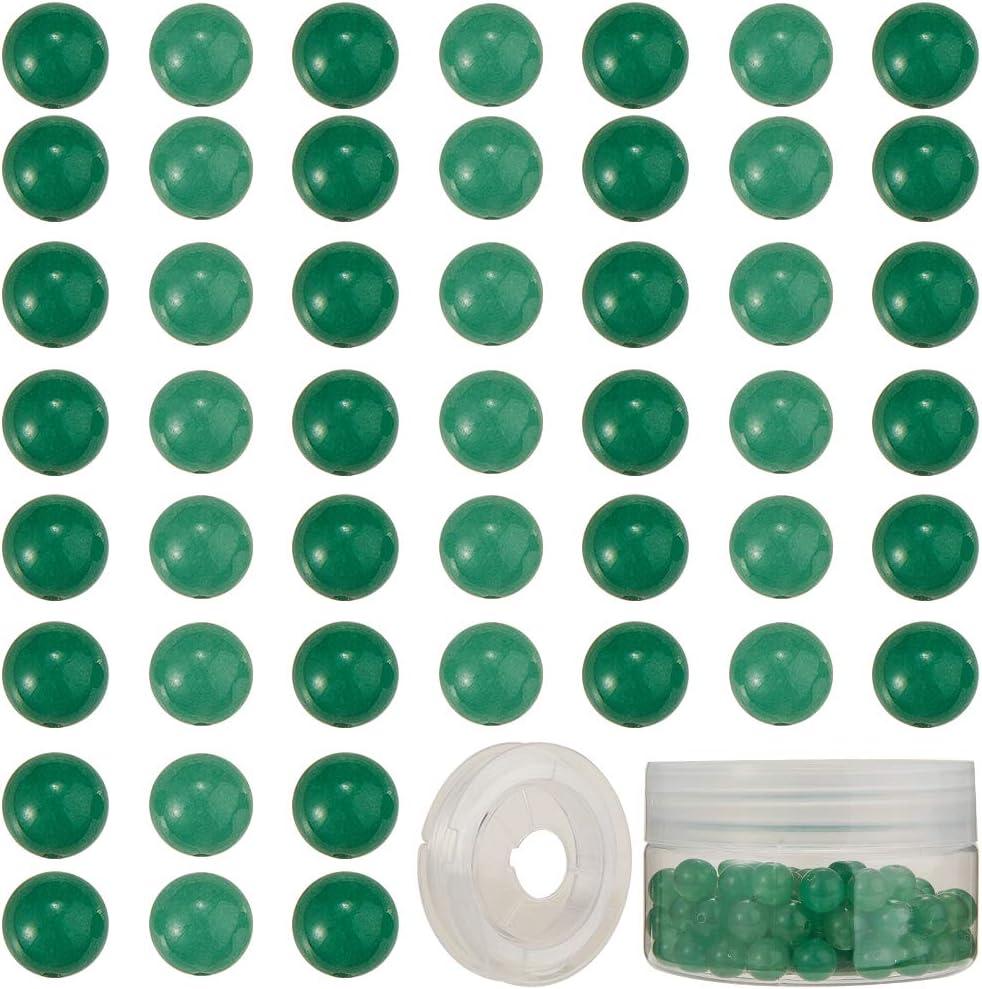 SUNNYCLUE 1 Caja 100 Piezas de Cuentas de Piedra Natural Semipreciosa Piedras Preciosas Redondas Sueltas de 8 mm Auténticas Piedras Reales con Hilo de Cristal Elástico, Abalorios de Aventurina Verde