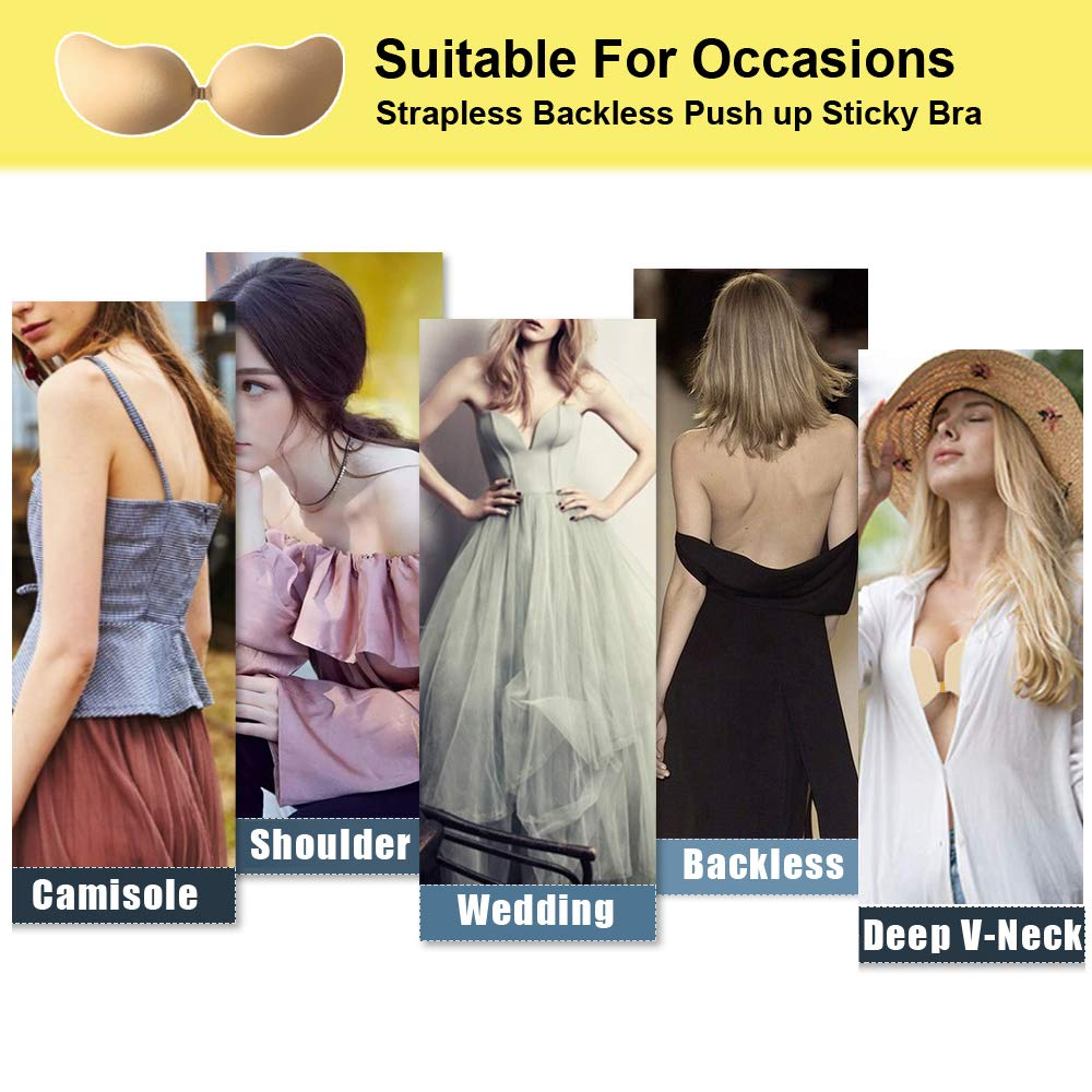 ROSE BRA Sticky Bra Self Adhesive Bra Strapless Backless Reusable Invisible Push up Silicone Bra for Women Beige