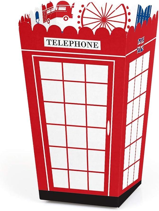 Big Dot of Happiness Cheerio, London - British UK Party Favor Popcorn Treat Boxes - Set of 12