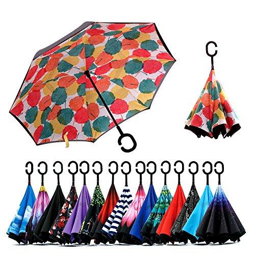 Spar. Saa Double Layer Inverted Umbrella with C-Shaped Handle, Anti-UV Waterproof Windproof Straight Umbrella for Car Rain Outdoor Use (Maple Leaf) (Creative Umbrella)
