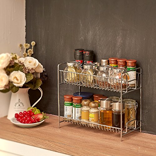 2 tier spice rack ezoware kitchen countertop 2 tier for Kitchen countertop storage solutions