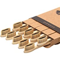 10-Pack Vivago Biodegradable Charcoal Bamboo Toothbrushes