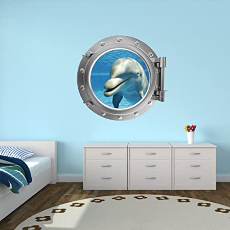 V&C Designs Full Colour Porthole Under the Sea Wall Sticker Decal ...