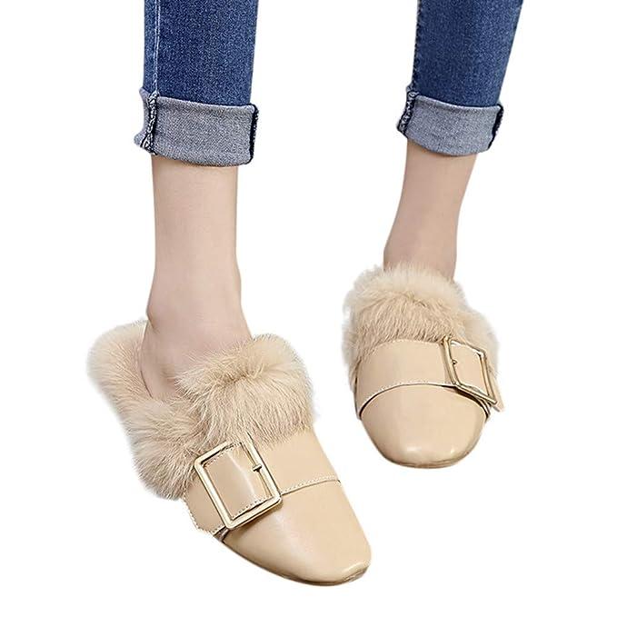 5051656c8df6 Damen Schuhe FORH ModeHerbst-Winter Hausschuhe Faux Pelz Warmer Auf  Schnalle Slippers Spitze Zehe Pantoffeln