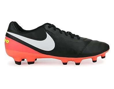 new style 3f987 0898d Nike Men s Tiempo Genio II FG Black White Hyper Orange Volt Soccer Shoes