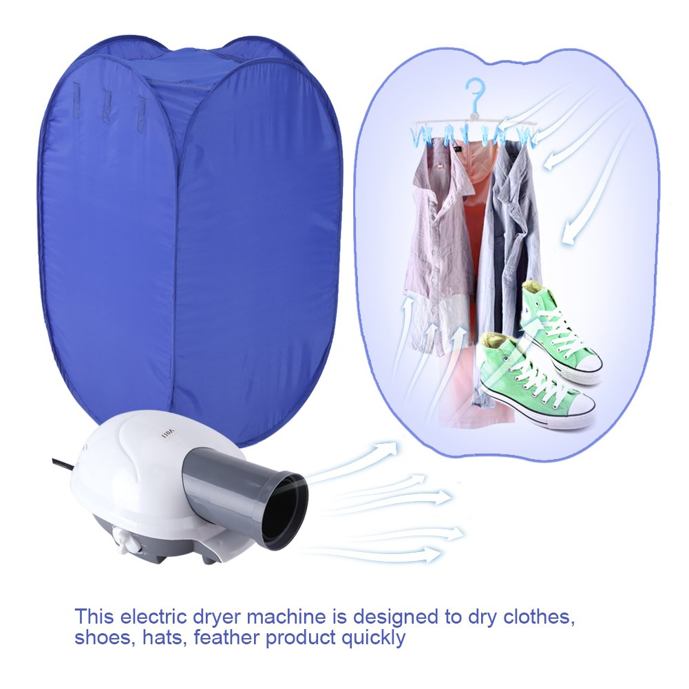 Portable Clothes Dryer,Blue Mini Folding Ventless Electric Air Clothes Dryer Bag Folding Fast Drying Machine with Heater 110V US Plug