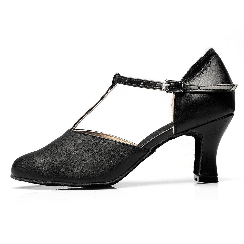 MSMAX Womens Black Leather 2.75 Heel Latin Social Dance Shoe DS-008
