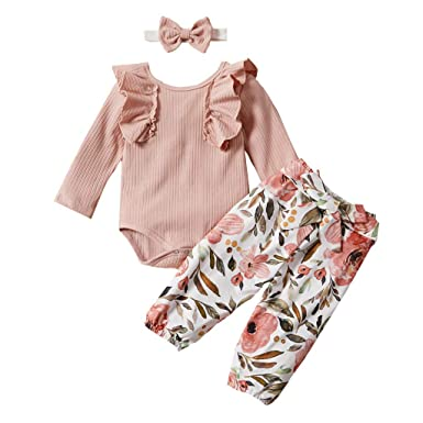 UK 3PCS Toddler Kids Baby Girls Ruffle Tops Solid Pants Winter Outfits Clothes