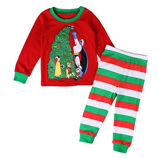 ZSY FOR U Kids Christmas Pajamas Cotton, Little Sky Girls Boys Xmas PJS Set Long