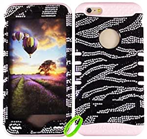 """Cellphone Trendz HARD & SOFT RUBBER HYBRID ROCKER HIGH IMPACT PROTECTIVE CASE COVER for Apple iPhone 6 Plus 5.5"""" 6th Generation Case - Rhinestone Bling Crystal Zebra Hard Shell on Light Pink Silicone"""