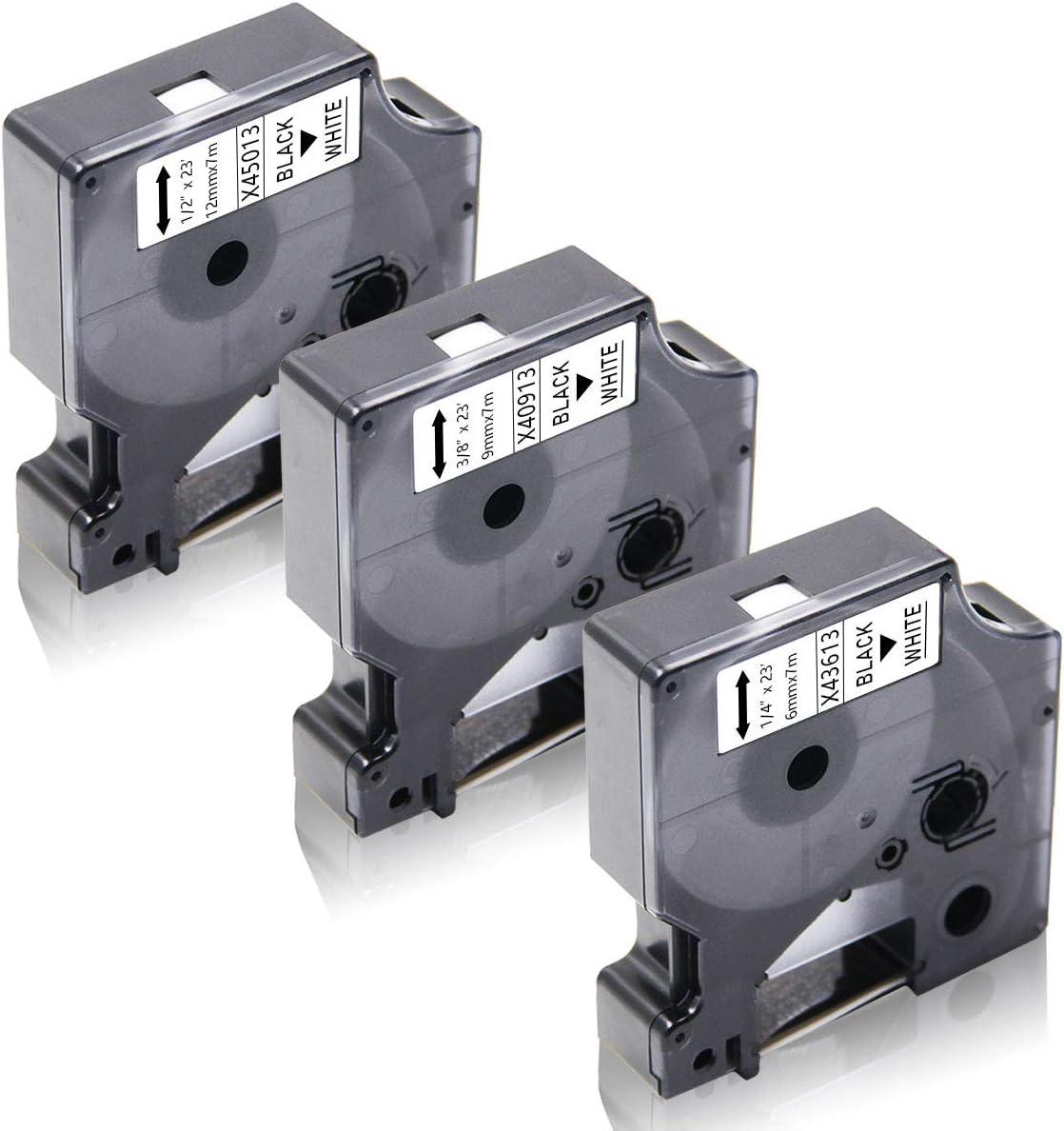 LabelPoint 200 300 400 450 Duo 3 Pacco Xemax Compatibile Nastro 6mm//9mm//12mm x 7m Sostituzione per Dymo 43613 40913 45013 Nero su Bianco Cassette per Dymo LabelManager 120P 160 280 450D 500TS PnP