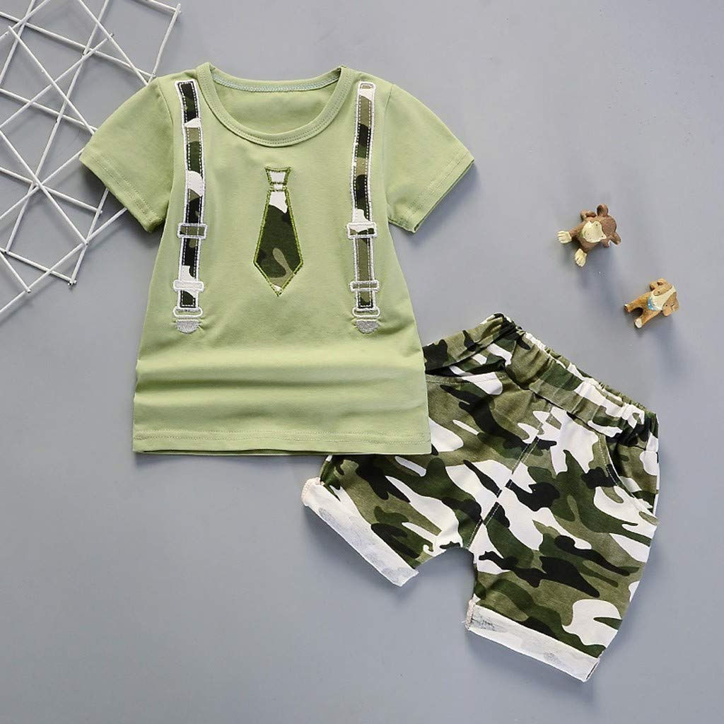 Lavany Toddler Boys Clothes 2pc Short Sleeve Print Tops+Como Shorts Casual Outfits Green by Lavany (Image #2)