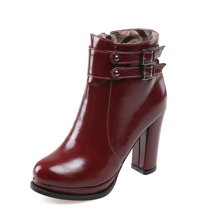 AmooTa Women's Solid PU High Heels Zipper Round Closed Toe Boots