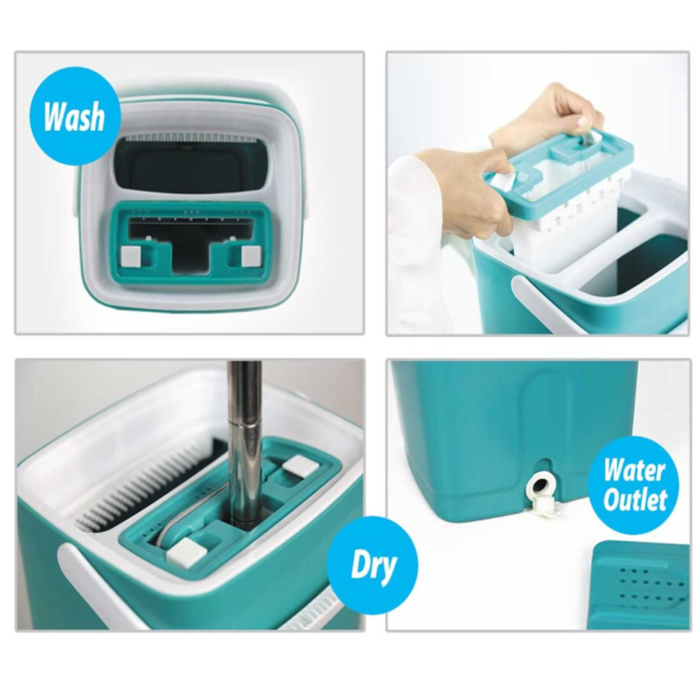Helang Wet Mop Flat with Bucket PP material Squeezing Mop Wash Dry Home Floor Cleaning Tools