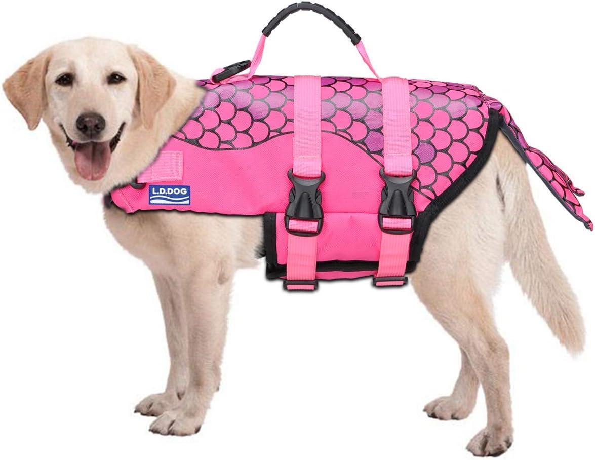 Songway Dog Life Jacket Vest,Protection Swimsuit,Reflective Stripes Adjustable Swimwear,Life Jackets-Pool-Beach-Boating Clownfish, S