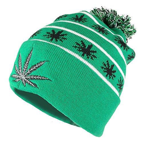Marijuana-Leafs-Pom-Pom-Acrylic-Beanie-Hat-KELLY-GREEN-BLACK-WB071-86