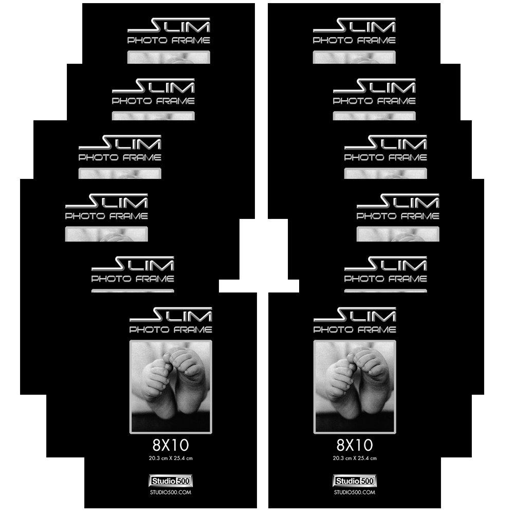 Studio 500, 8 by 10-inch, Slim Photo Frame, Black, 12-Pack