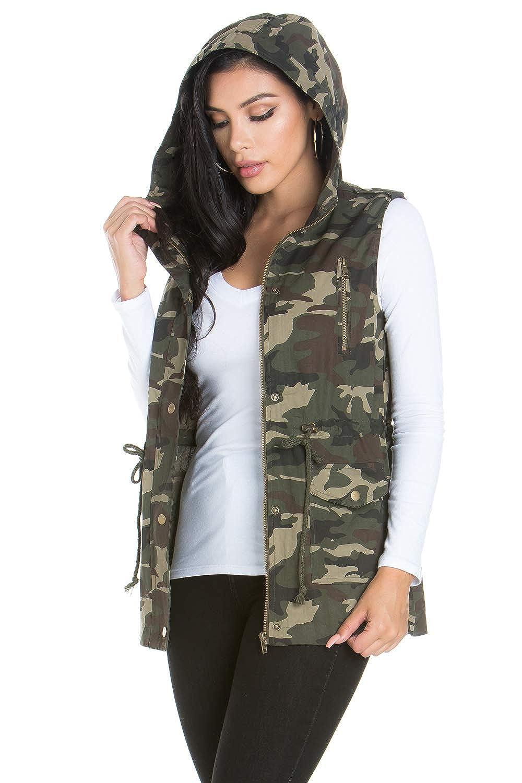 My Yuccie Womens Anorak Military Utility Jacket Vest with Drawstring