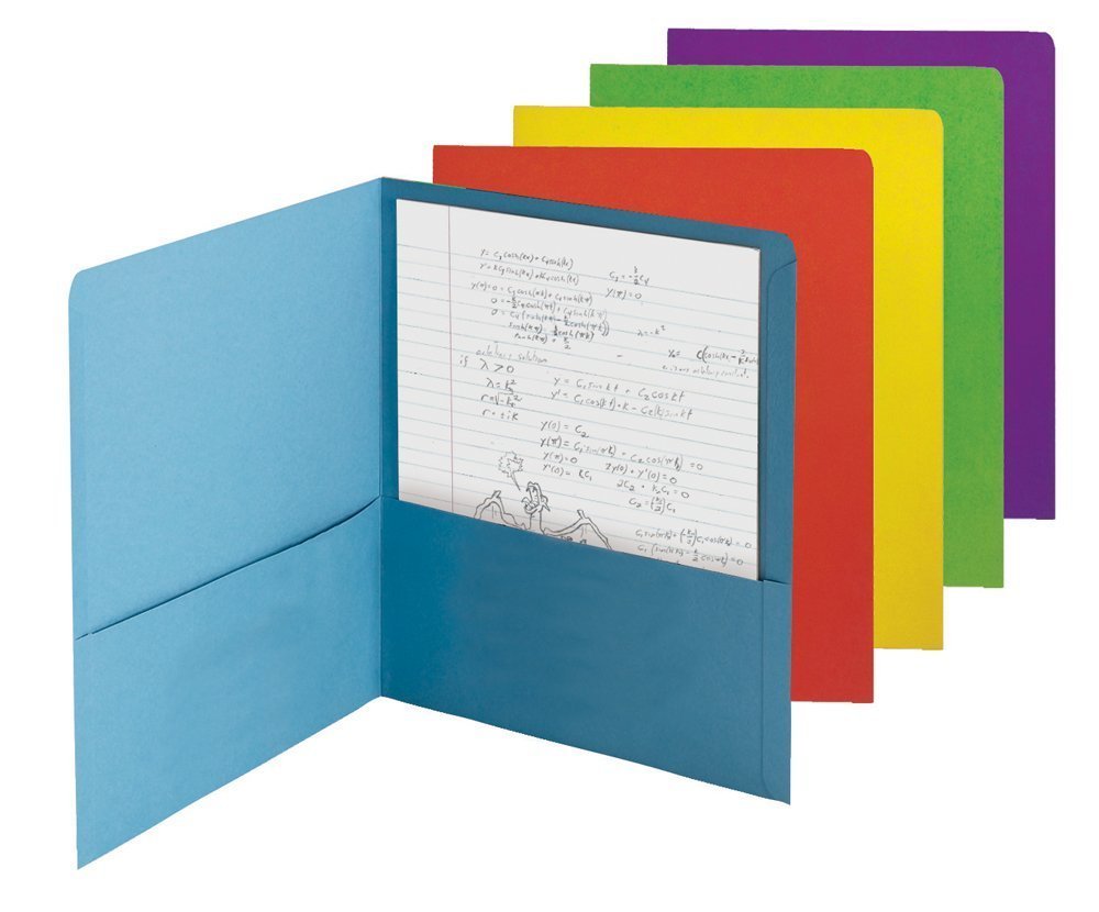Smead Economy Two-Pocket File Folder, Up to 100 Sheets, Letter Size, Assorted Colors, 50 per Carton (87863) (PACK OF 100)