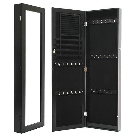 Amazon.com: Black Mirrored Jewelry Cabinet Armoire Wall / Door ...