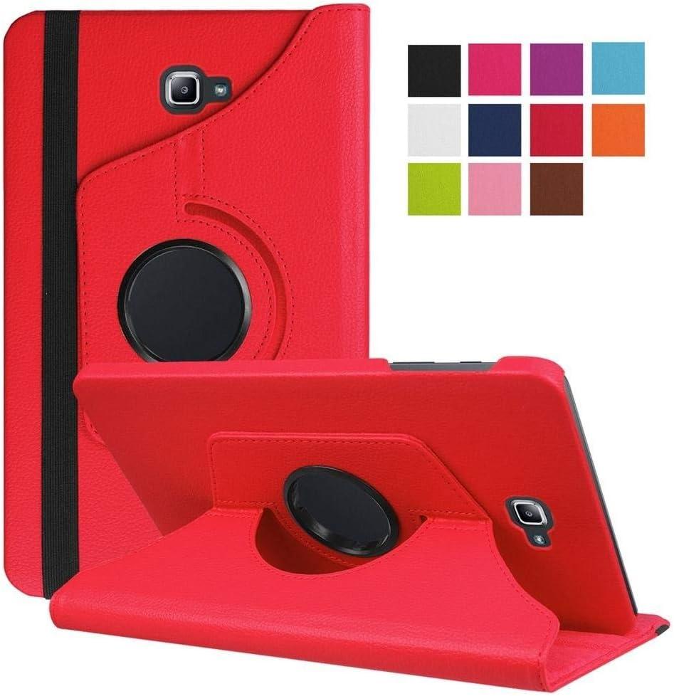 DETUOSI Funda Tablet Samsung Galaxy Tab 10.1, Giratoria 360 Grados Fundas Cubierta de PU Cuero Smart Case Cover Protectora Carcasa con Stand Función para Galaxy Tab A 10.1 SM-T580N T585N Tablet -Rojo