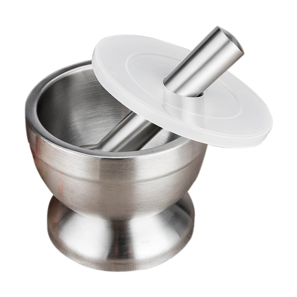 Tobene Spice Grinder Stainless Steel Mortar and Pestle for Crushing Grinding Ergonomic Design with Anti Slip Base and Silicone Lid