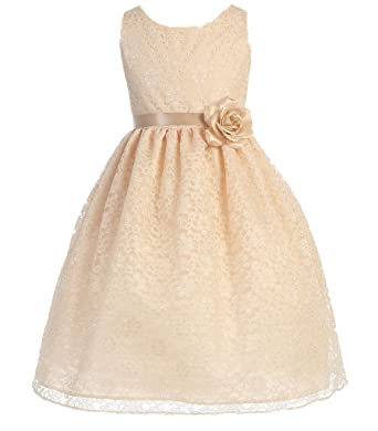 854d5f11092 Flower Girl Dress Floral Lace Bridesmaid Dress for Little Girl Champagne 2  CA749