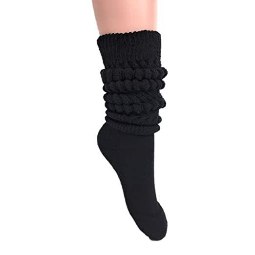 6d490660f Women s Extra Long Heavy Slouch Cotton Socks Made in USA Size 9 to 11 (1