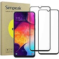 Simpeak 2-Packs Cristal Templado para Samsung Galaxy M30 / A50 / A30, Protector de Pantalla Galaxy M30 Premium Protección Complet Bubble Free/HD Clear/Anti-Huella - Negro